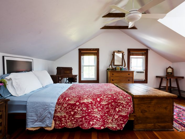 Catskills Farmhouse Bedroom | Vintage Furniture | Airbnb | Upstate NY Residential Home Interior Photography | Interiors | New York Architectural Photographer Dave Butterworth | Real Estate | Albany NY | Saratoga Springs | Hudson Valley | Catskills | EyeWasHere