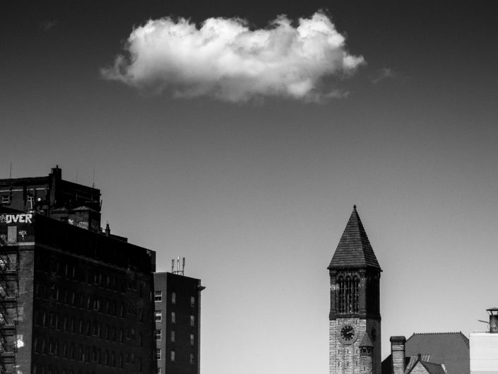 Cloud Over Clock Tower | Albany NY Architectural Black and White Photography by Dave Butterworth | EyeWasHere Paint it Black