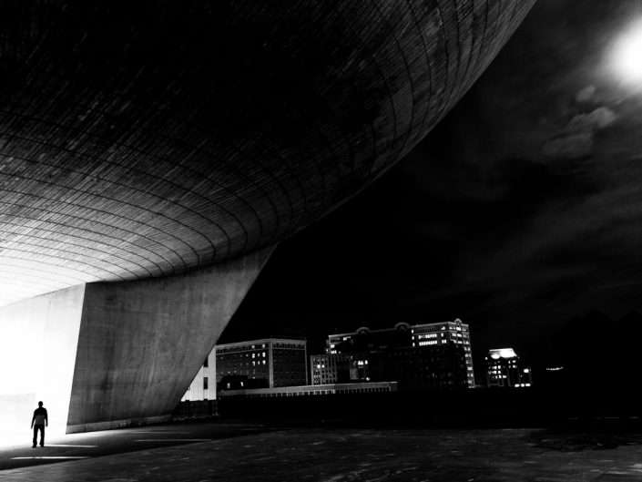 Feeling Small | Black and White Albany New York Moon Photo by Dave Butterworth | EyeWasHere Paint it Black