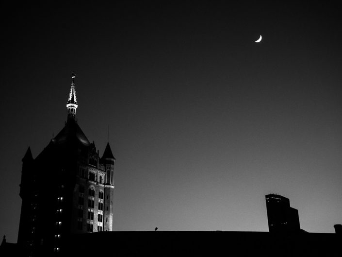 Half Moon | SUNY Headquarters Black and White Half Moon Photo by Dave Butterworth | EyeWasHere Paint it Black