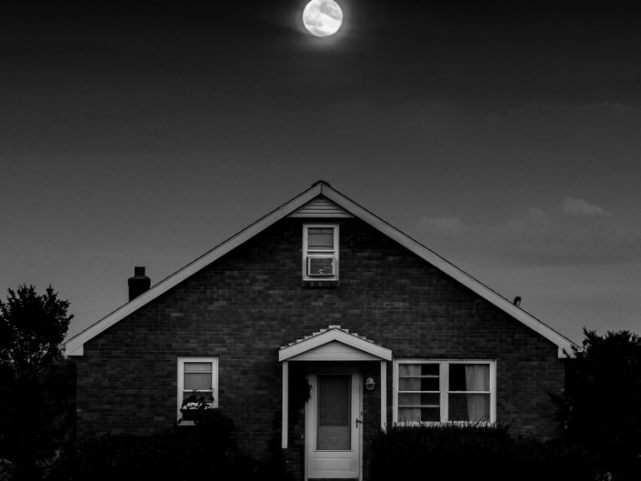 Harvest Moon | Hudson Valley Black and White Full Moon Photograph by Dave Butterworth | EyeWasHere Paint it Black
