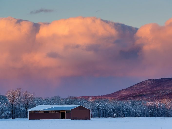 Hillsdale Sunset Over Shed | Upstate NY Winter Sunset over Red Shed Landscape Photo by Dave Butterworth | EyeWasHere Playing With A Camera, Upstate NY Landscape Photography