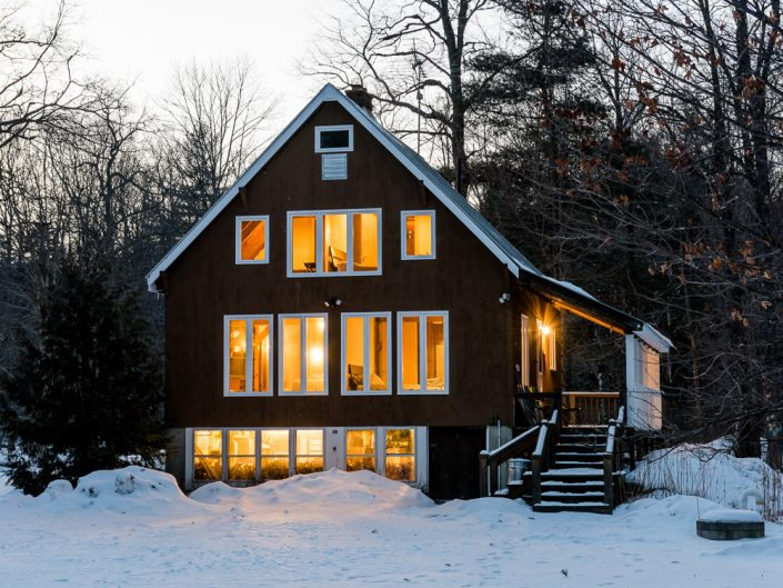 Jamaica VT Winter Cabin Airbnb Vacation Rental | Upstate NY Residential Home Exterior Photography | Exteriors | New York Architectural Photographer Dave Butterworth | Real Estate | Albany NY | Saratoga Springs | Hudson Valley | Catskills | EyeWasHere | Eye Was Here Photography