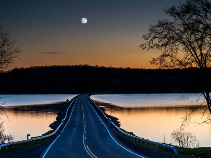 Pink Moon Over Bear Swamp Road | Upstate NY Full Moon Sunset Over Bridge by Dave Butterworth | EyeWasHere Playing With A Camera, Upstate NY Landscape Photography