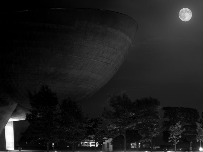 Super Moon & The Egg | Albany New York State Plaza Black & White Photography by Dave Butterworth | EyeWasHere Paint it Black