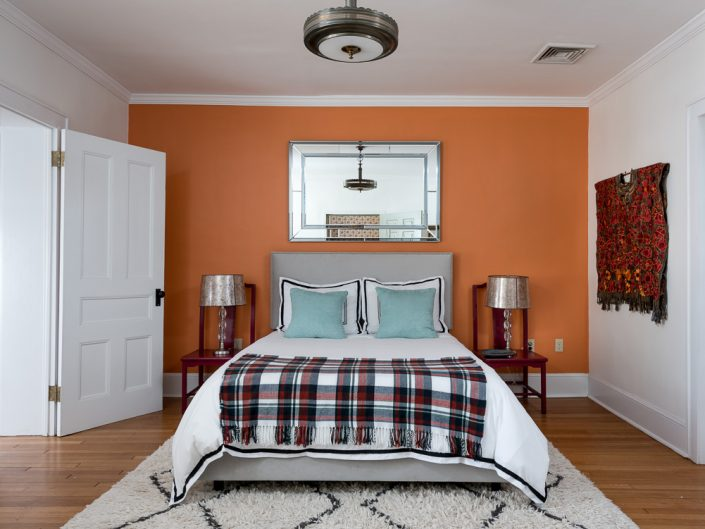 Hudson Valley Orange Bedroom | Upstate NY Residential Home Interior Photography | Interiors | New York Architectural Photographer Dave Butterworth | Real Estate | Albany NY | Saratoga Springs | Hudson Valley | Catskills | EyeWasHere