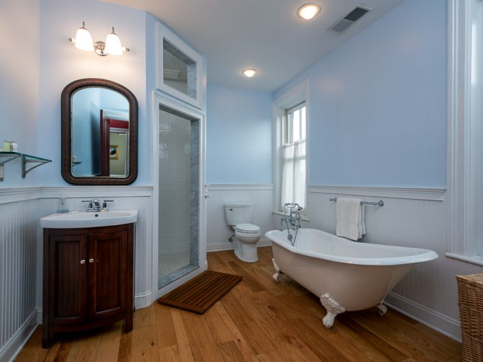 Hudson NY Blue Bathroom | Upstate NY Residential Home Interior Photography | Interiors | New York Architectural Photographer Dave Butterworth | Real Estate | Albany NY | Saratoga Springs | Hudson Valley | Catskills | EyeWasHere