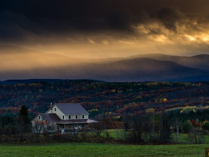 Sunlight Over Country Home | Sunset Over Catskill Mountains and Farmland Photo by Dave Butterworth | EyeWasHere Playing With A Camera, Upstate NY Landscape Photography