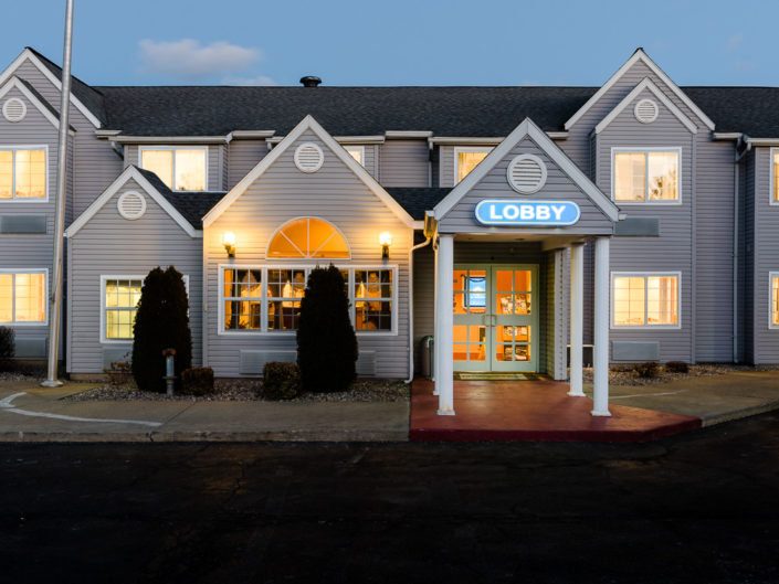 Latham NY Microtel Twilight Exterior | Hotel Exterior Photography | Bed & Breakfast | BNB | Real Estate | Architecture | Interior Design | Albany NY Photographer Dave Butterworth | EyeWasHere | Eye Was Here Photography
