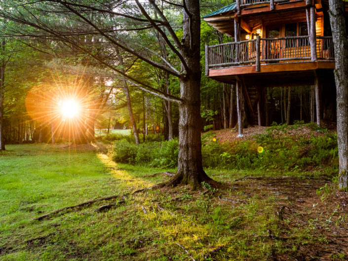 Waterbury VT Treehouse Morning Light | Hotel Exterior Photography | Bed & Breakfast | BNB | Real Estate | Architecture | Interior Design | Albany NY Photographer Dave Butterworth | EyeWasHere | Eye Was Here Photography